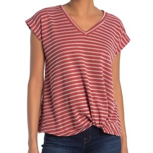 Pleione Women's Twisted Front Hem Stripe Top